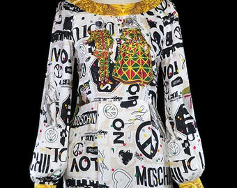 Moschino masquerade print dress, white ivory gold black pattern silk, long sleeve, bishop, text peace sign harlequin