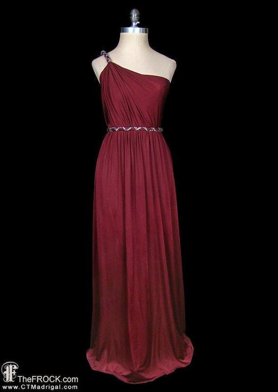 Beaded wine jersey maxi dress, grecian goddess sin
