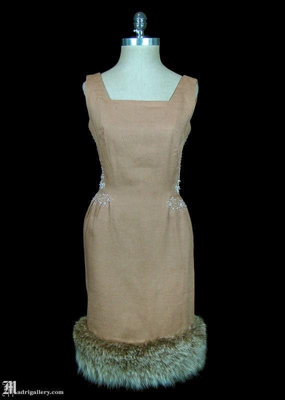 1950s dress, fox fur trimmed beaded cafe-au-lait l