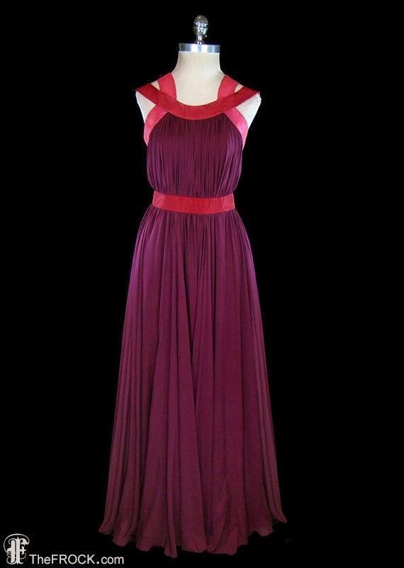 Jean Dessés gown, vintage silk chiffon goddess dre