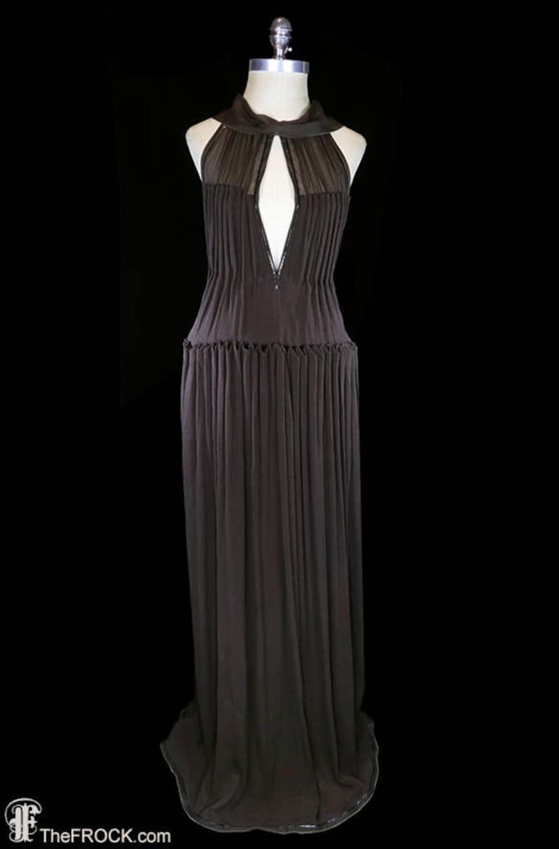 4a40aca7e00 Yves Saint Laurent chiffon gown YSL halter dress sleeveless | Etsy