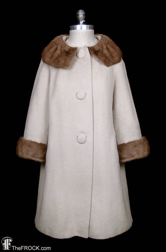 Norman Norell designed wool coat with mink fur col