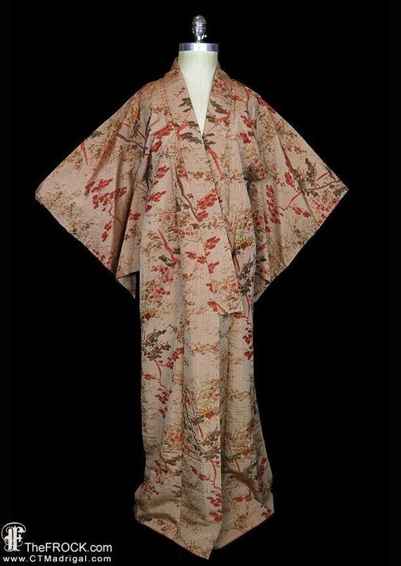 Antique silk kimono, robe or coat or dressing gown