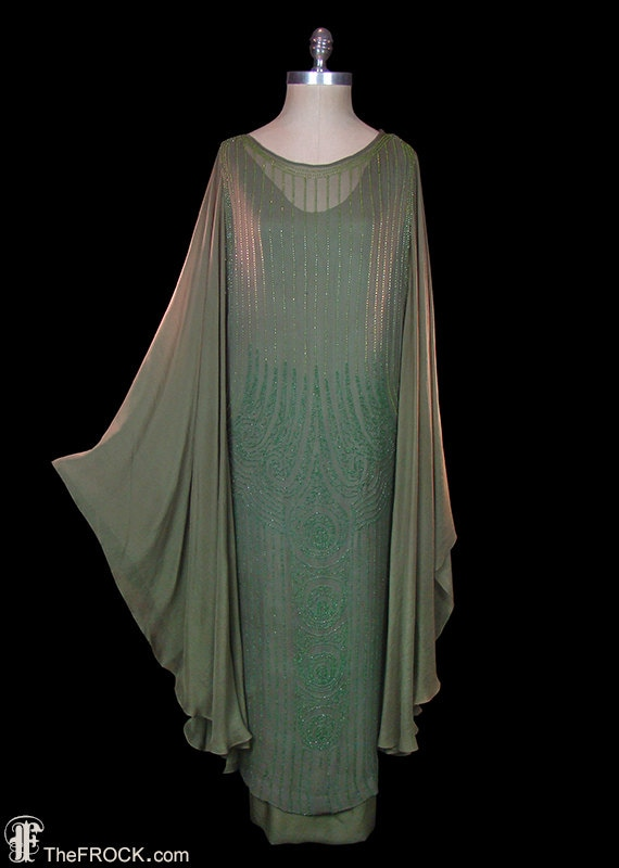 Flapper dress, 1920 art deco gown, beaded silk chiffon, angel wing sleeves, Great Gatsby style, authentic antique couture, large
