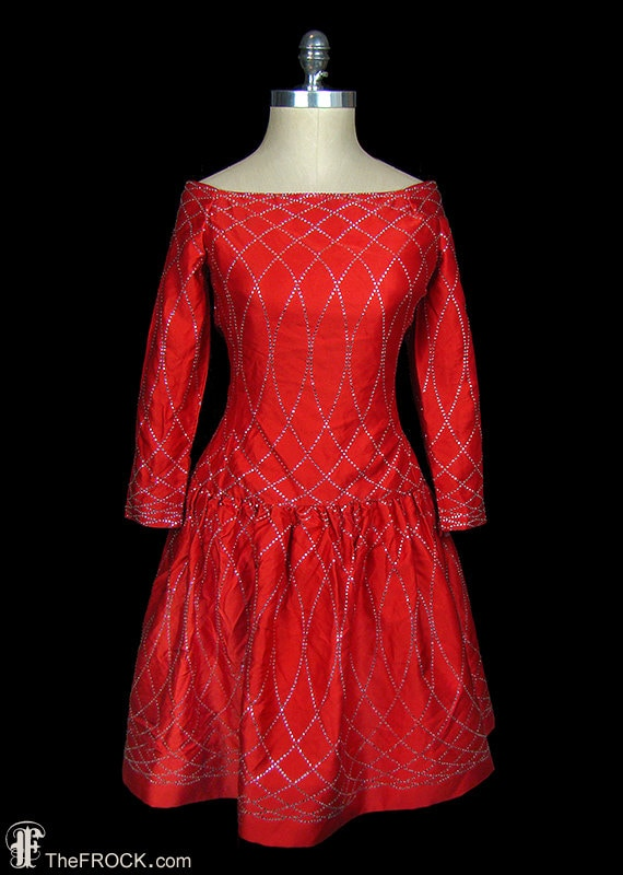 Arnold Scaasi vintage red silk satin couture even… - image 1