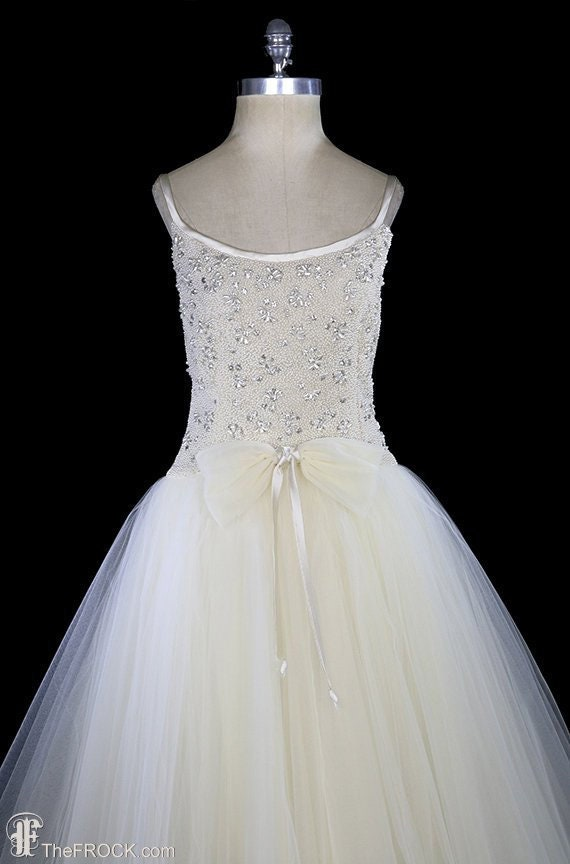 Ceil Chapman wedding dress evening gown, vintage b