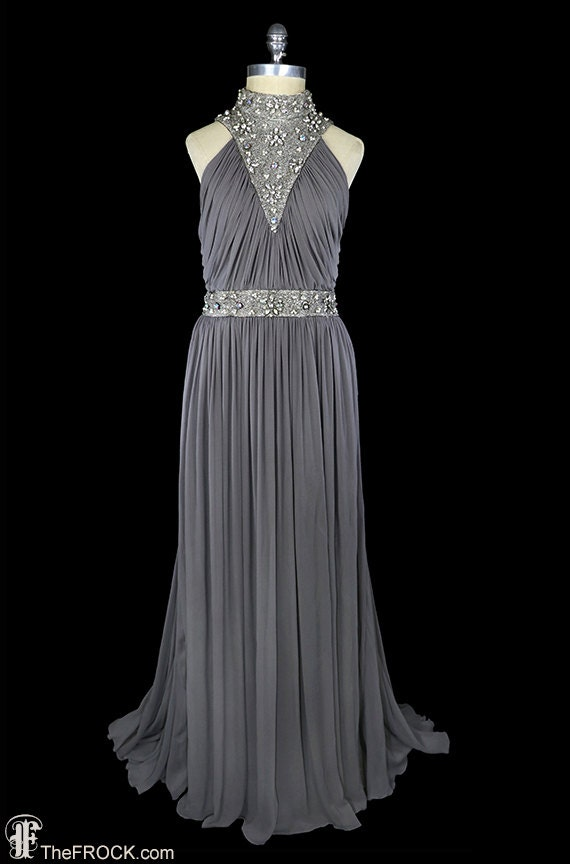 1940 gown, beaded chiffon dress, art-deco sleevele