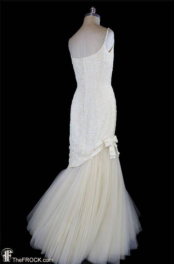 Ceil Chapman evening gown or wedding dress, sequi… - image 5