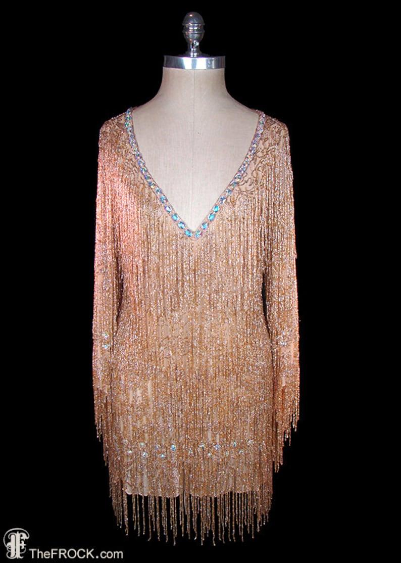 1c9965964e Roberto Cavalli gold glass beaded fringe mini dress with big faceted jewel  crystals at neck   hem