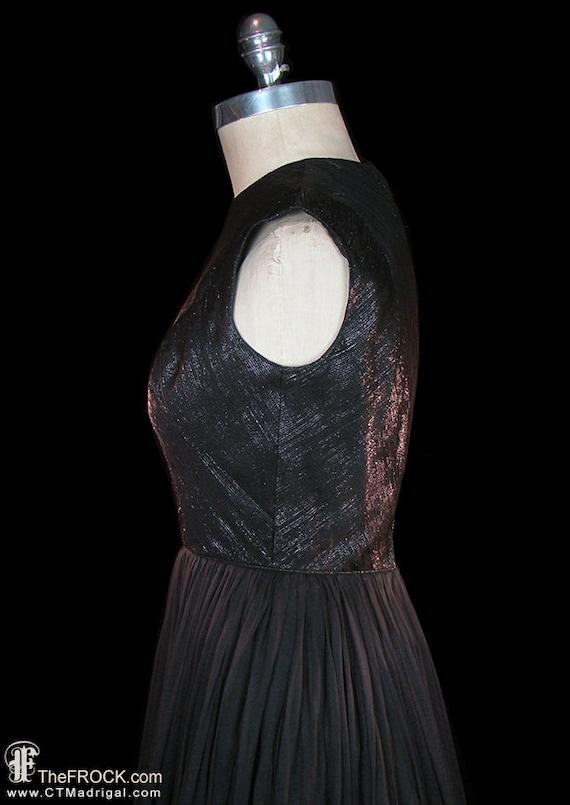 Travilla dress, 1950s vintage black silk evening … - image 3