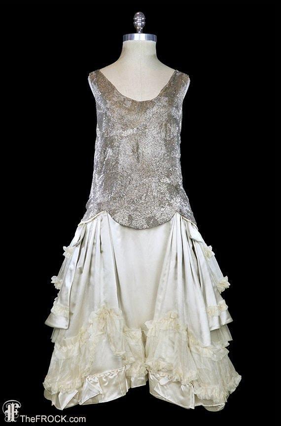 Antique flapper era dress, heavily beaded silk wed
