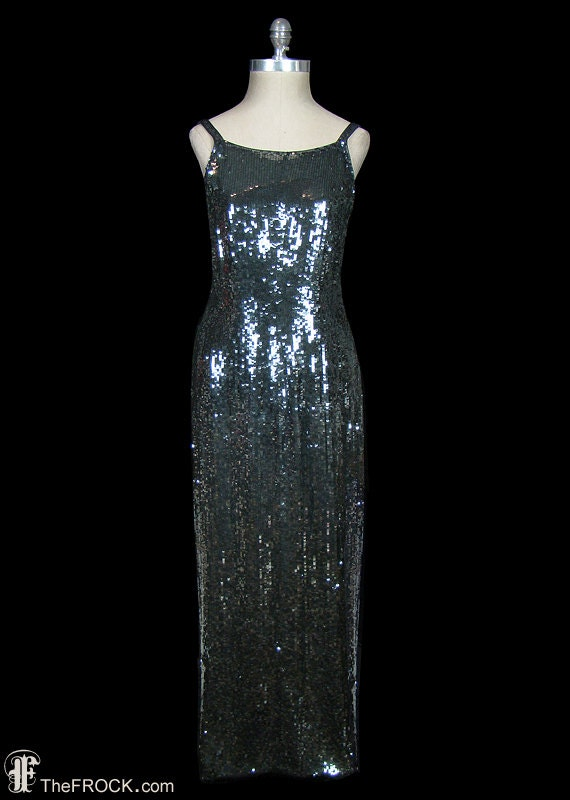 Halston sequin gown vintage gunmetal gray long dress 1970s /