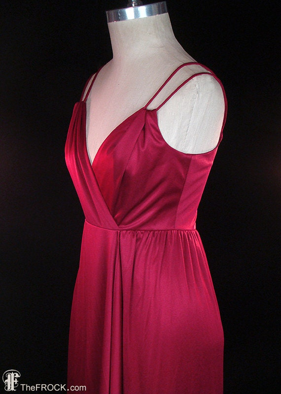 RESERVED - Halston wine jersey evening dress, vint