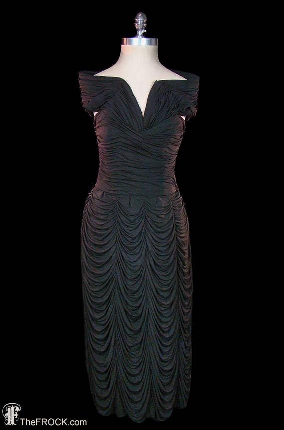 Jean Dessés dress, vintage black silk evening gown