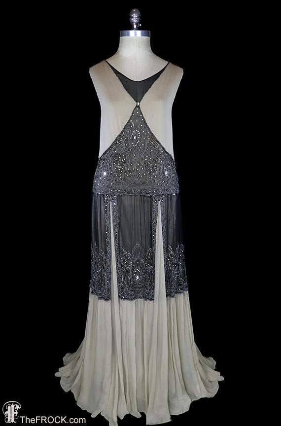 Art deco beaded gown, 1920s flapper dress, silk chiffon beige nude black, antique couture, Great Gatsby era, sleeveless heavily beaded, rare
