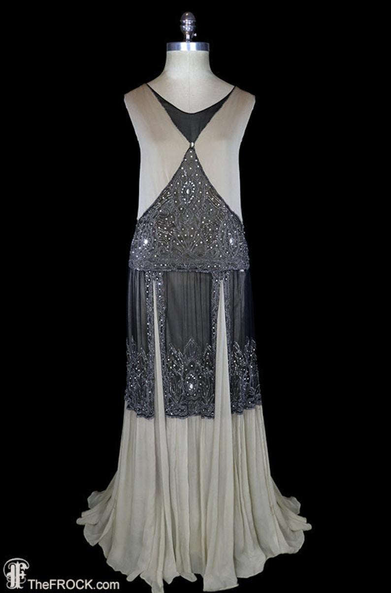 a92b9869df5d5 Art-deco beaded gown 1920s flapper dress silk chiffon beige | Etsy