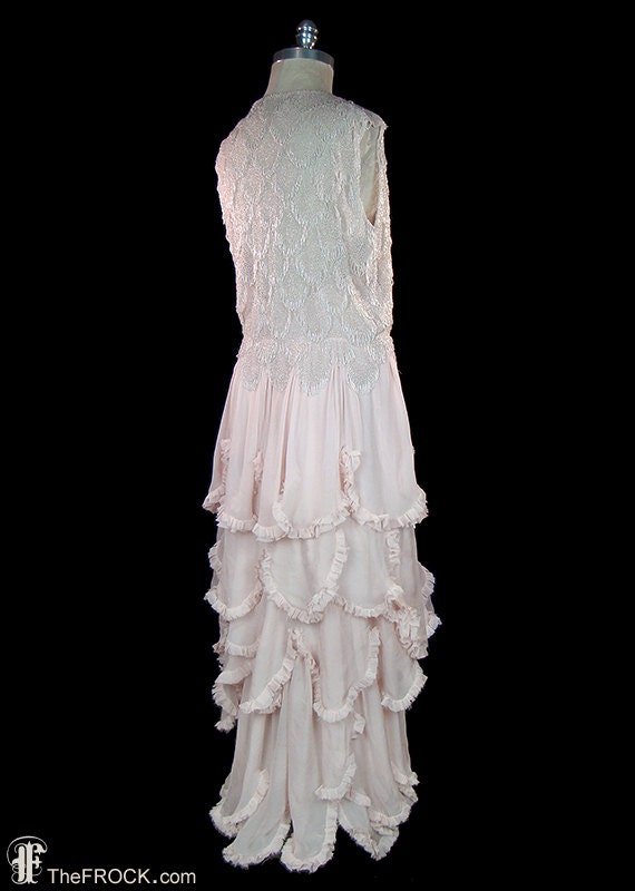 1930s gown or wedding dress, beads & palest pink–… - image 4