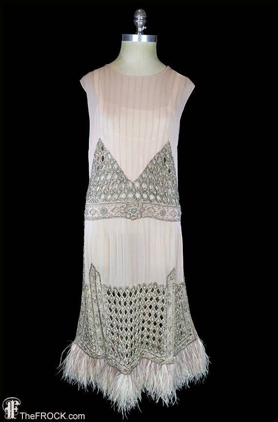 1920s flapper era dress, heavily beaded silk chiff