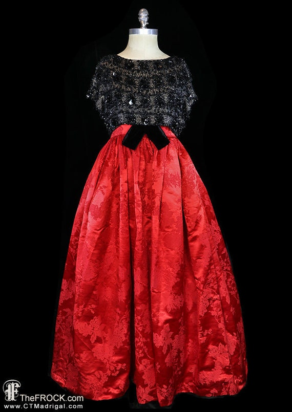 Balenciaga red silk gown, heavily beaded dress, r… - image 1