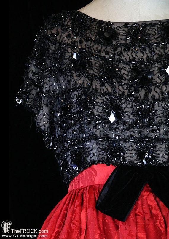 Balenciaga red silk gown, heavily beaded dress, r… - image 3