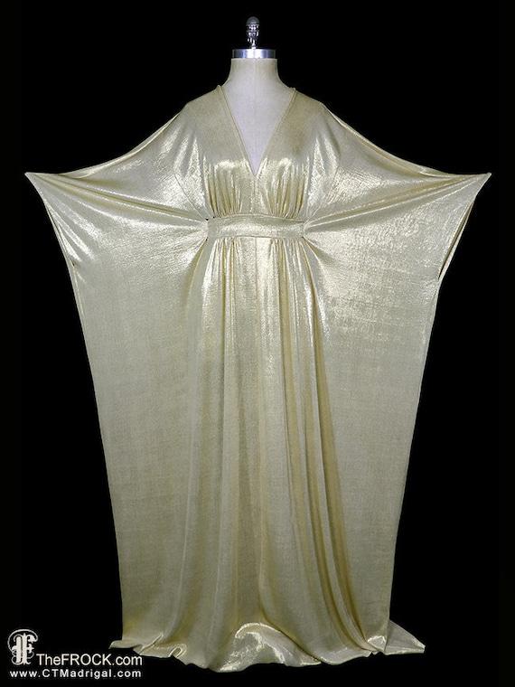 Halston caftan dress, vintage gold grecian goddess