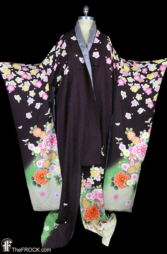 Vintage silk kimono, robe or coat or dressing gown