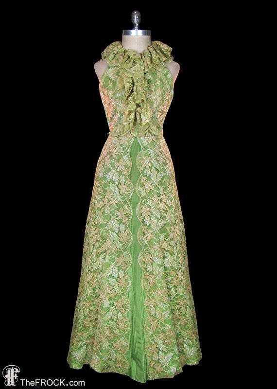 Vintage Oscar de la Renta gown, shimmering green l