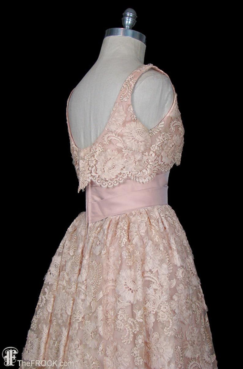 2bda64eb390 1950s lace dress prom wedding silk organza trimmed gown