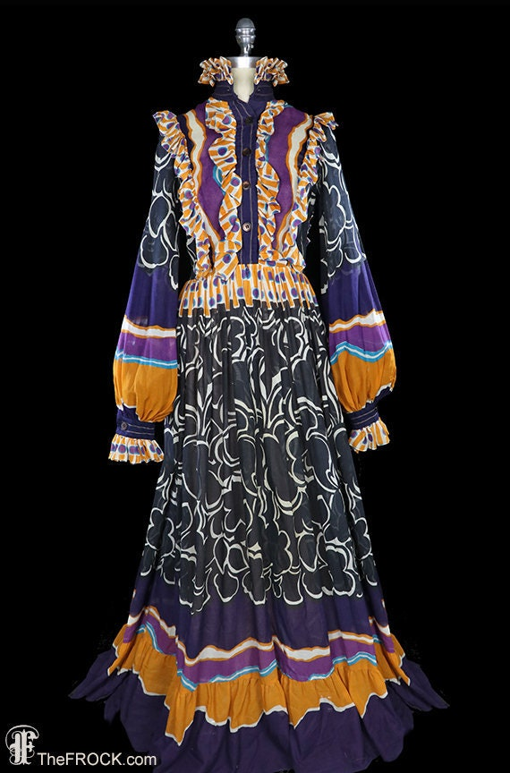 Jean Varon maxi dress, 1960s 1970s boho bohemian f