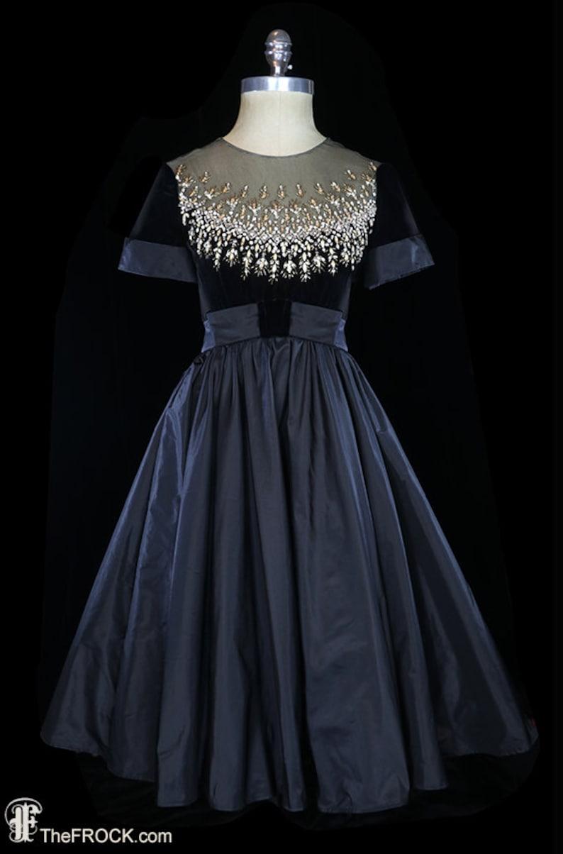 f99c9bc4d0c C. 1960 Malcolm Starr black velvet dress silk taffeta gown