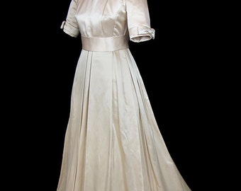 Balenciaga wedding Dress, ivory silk satin, couture bridal gown, vintage Balenciaga designer wedding dress, half sleeves, full skirt