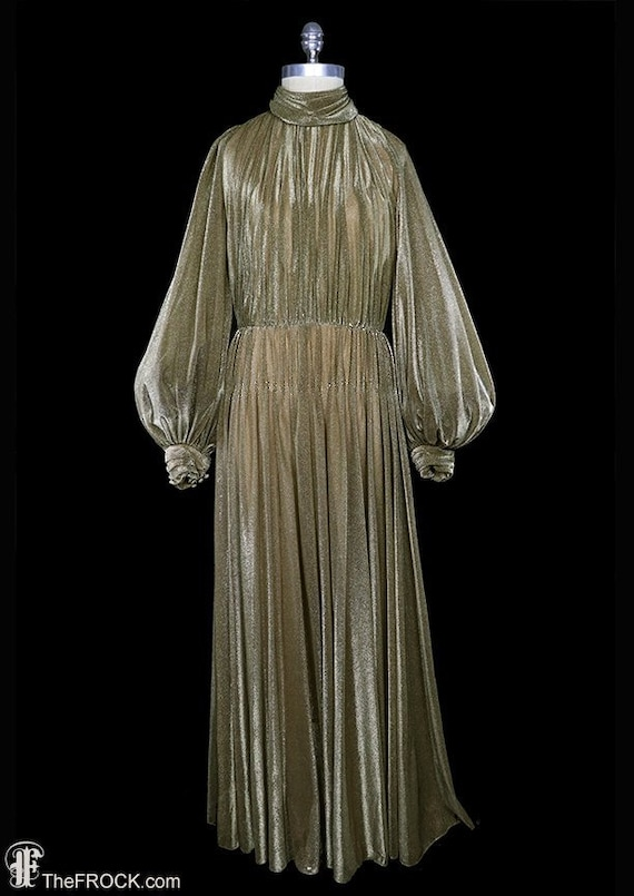 Luis Estevez maxi dress, gold metallic gown, bisho