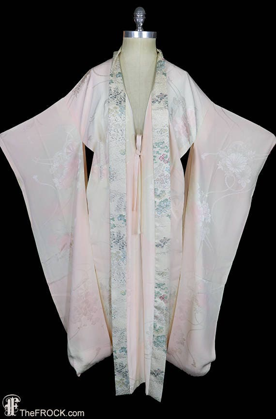 1930s Art Deco dressing gown, kimono robe, silk fl