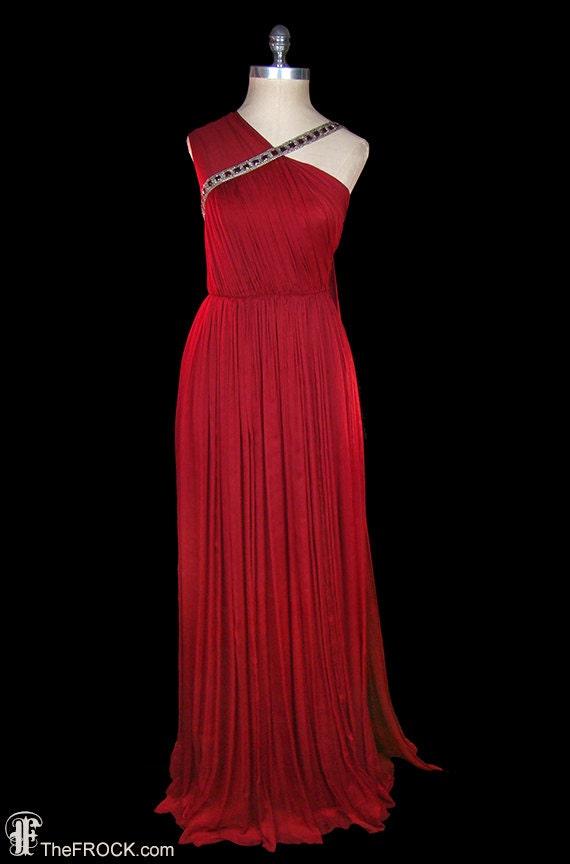 Jean Dessès gown, vintage red silk chiffon goddess