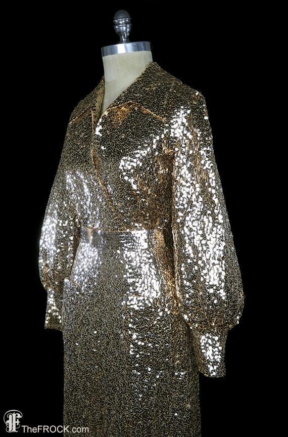 Elizabeth Arden sequined gown, gold sequin maxi d… - image 3