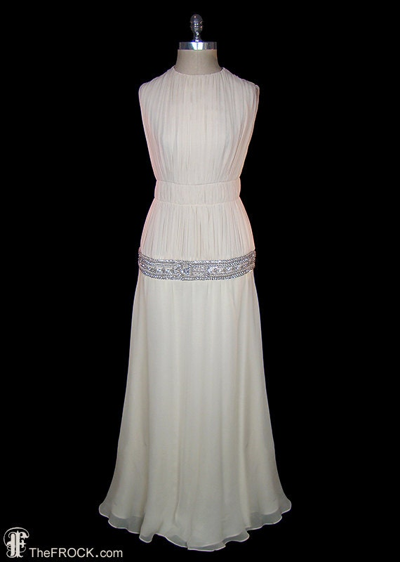 Madame Gres dress, vintage crystal jeweled ivory s
