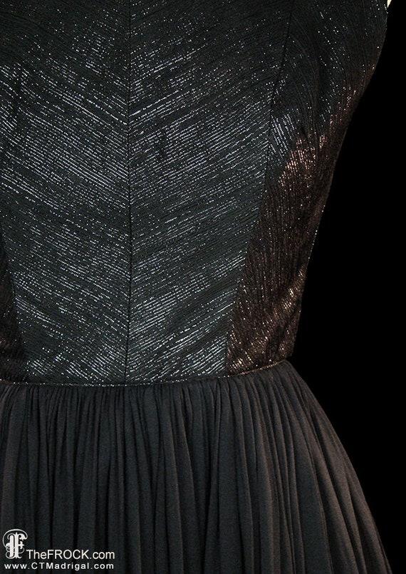 Travilla dress, 1950s vintage black silk evening … - image 2