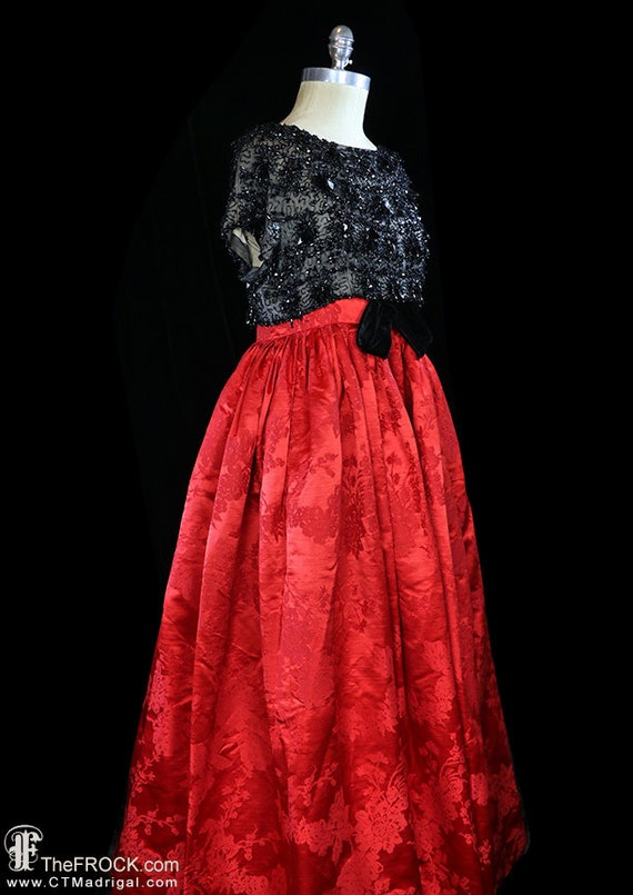 Balenciaga red silk gown, heavily beaded dress, r… - image 4