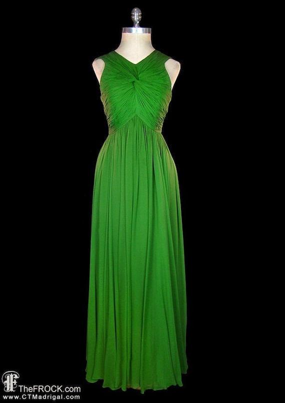 Jean Dessès gown, vintage green silk chiffon godde