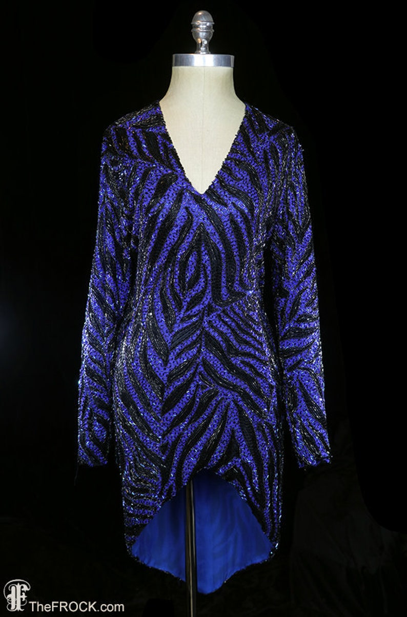 Bob Mackie Vintage Beaded Dress Heavily Beaded Couture Dress Evening Formal Red Carpet 1980s 80s 80 S Long Sleeves Fitted Blue Black