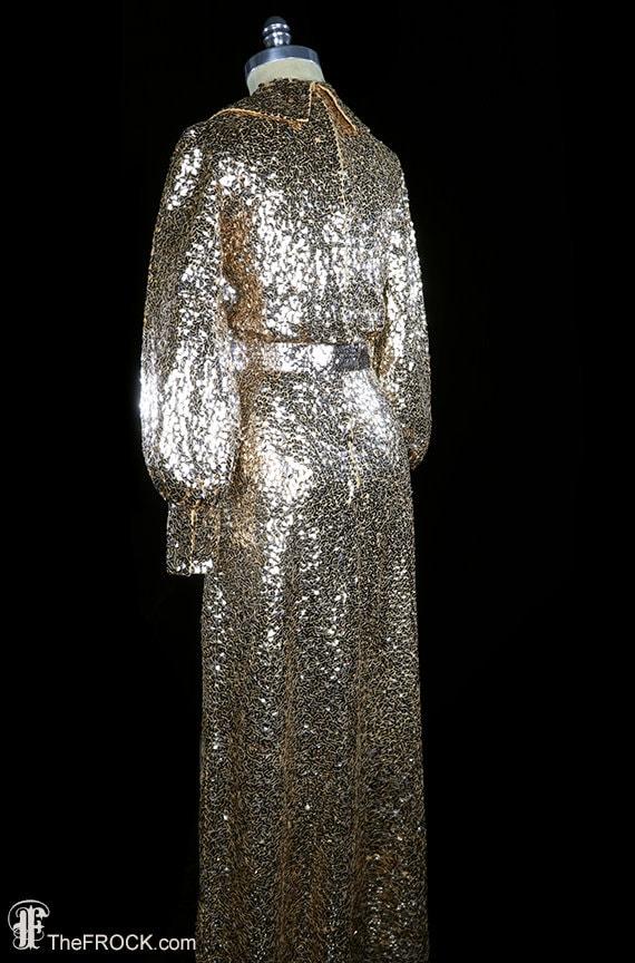 Elizabeth Arden sequined gown, gold sequin maxi d… - image 4
