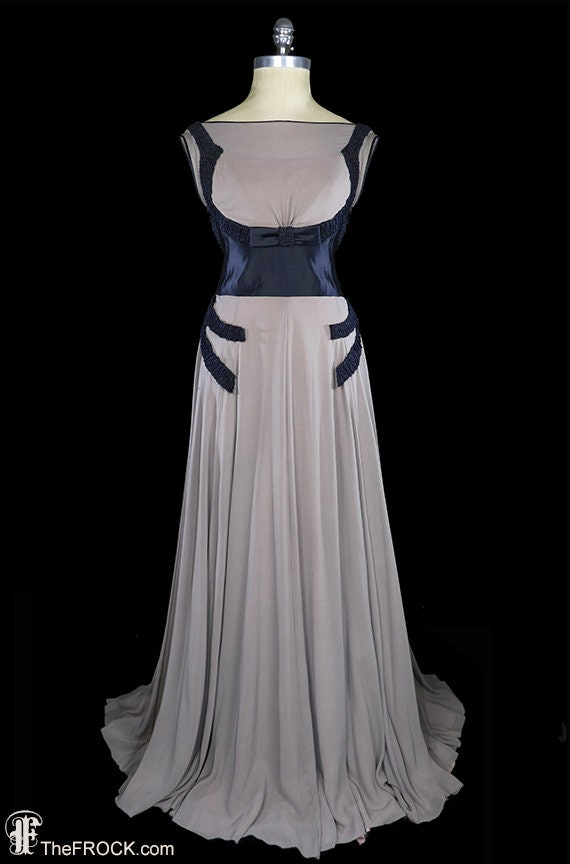Vampy 1930s art-deco gown, blue silk satin dress g
