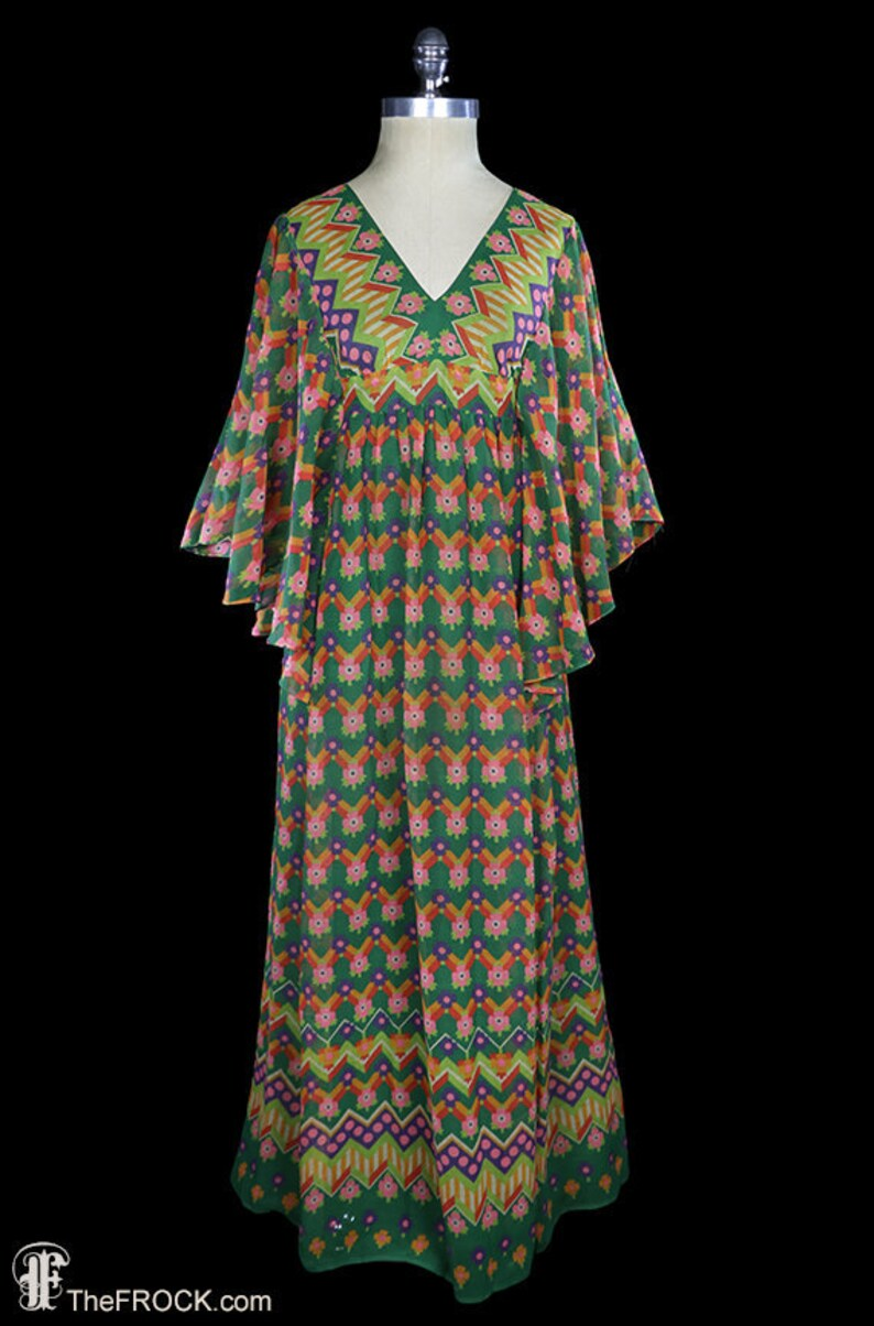 67a2085bee8 Tribal print maxi dress, angel wing sleeves, boho bohemian festival gown,  1960s 1970s voile ethnic flutter sleeve, cotton green orange blue