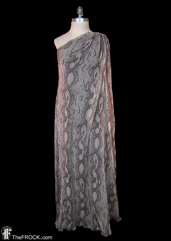 Givenchy vintage toga dress, snake reptile print c