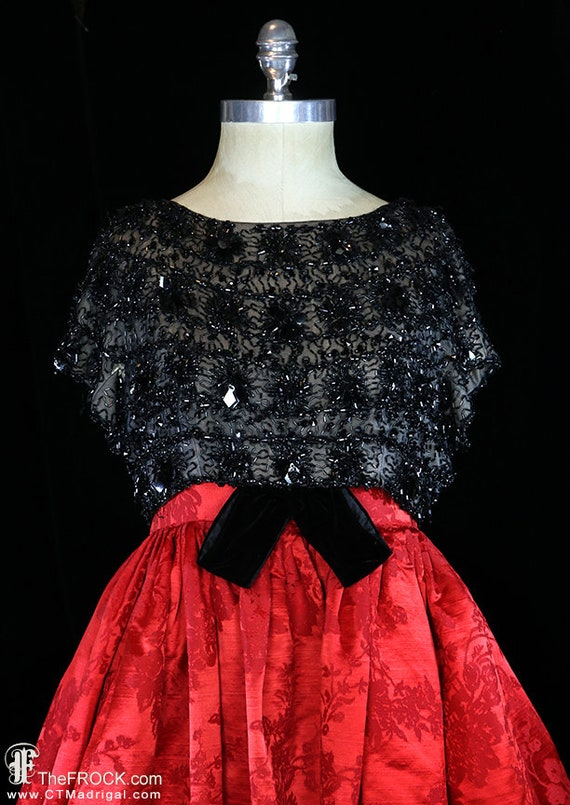 Balenciaga red silk gown, heavily beaded dress, r… - image 2