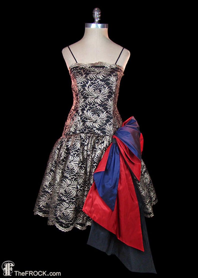 08c08affe4415 Oscar de la Renta gold metallic lace dress w/ big red purple | Etsy
