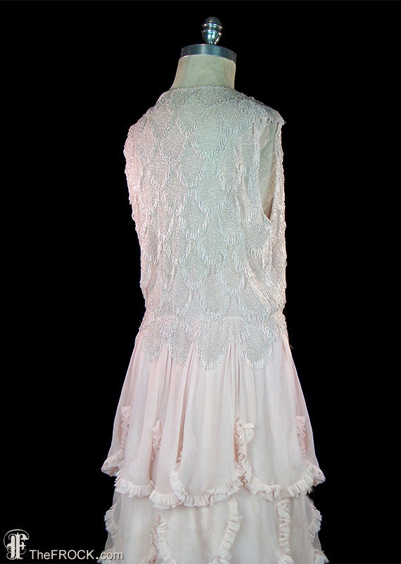 1930s gown or wedding dress, beads & palest pink–… - image 5