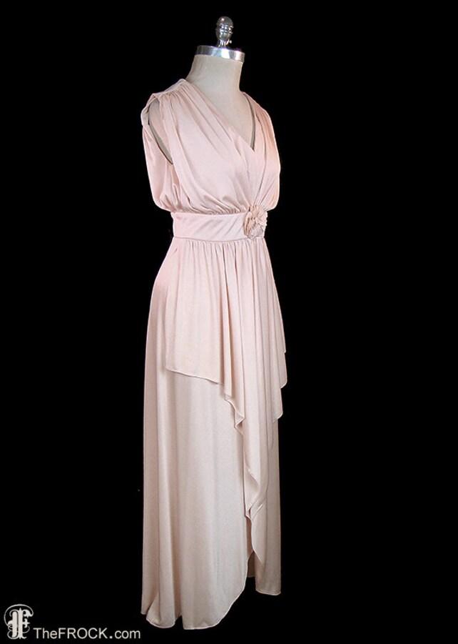Halston grecian goddess draped jersey maxi dress vintage   Etsy