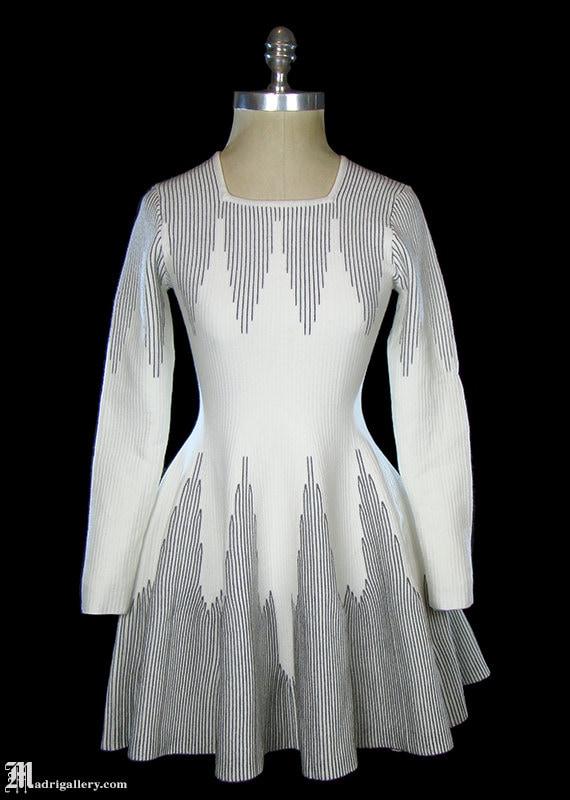 Azzedine Alaïa dress, white ivory black stretch kn