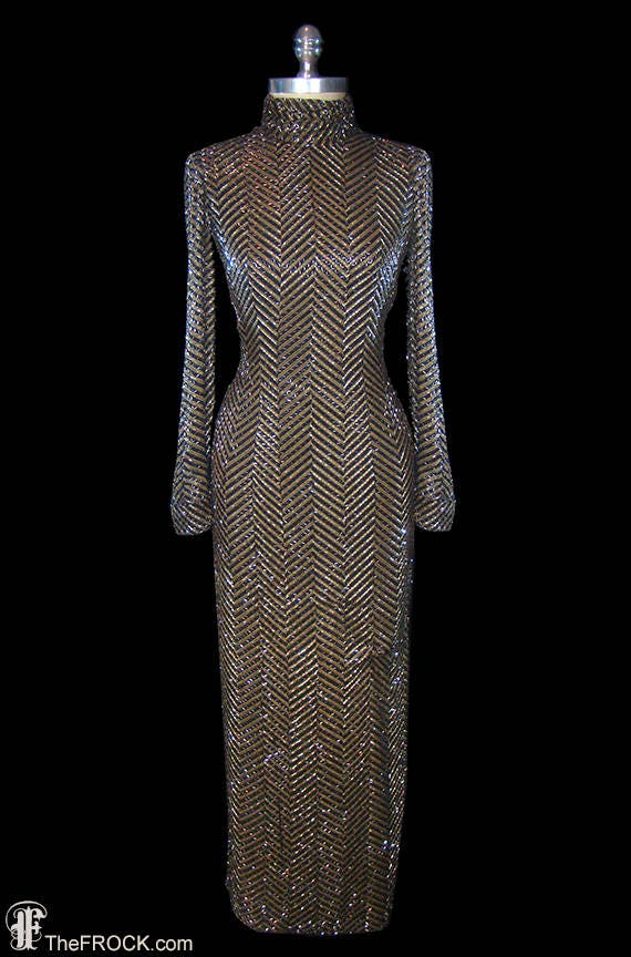Bob Mackie vintage beaded gown heavily beaded couture dress | Etsy